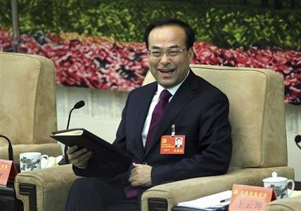 Sun Zhengcai, then party chief of Jilin province attends a meeting held on the sidelines of the 18th National Congress of the CPC, in Beijing, November 9, 2012. China has confirmed that Sun has been appointed Communist Party boss for the southwestern city of Chongqing. Picture taken November 9, 2012. REUTERS/China Daily