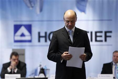 CEO of Hochtief AG, Frank Stieler addresses the annual news conference in Duesseldorf February 29, 2012. REUTERS/Ina Fassbender (GERMANY - Tags: BUSINESS ENERGY)