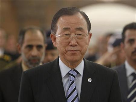 U.N. Secretary General Ban Ki-Moon stands during Yemen's national anthem at a ceremony in Sanaa November 19, 2012. REUTERS/Khaled Abdullah
