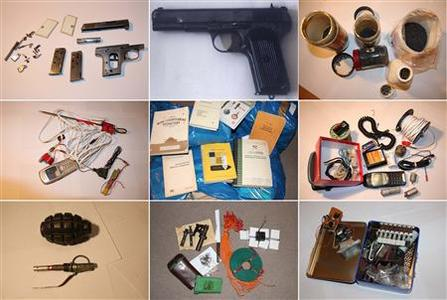 A combination of handout photos distributed by Poland's Prosecutors Office, November 20, 2012, showing evidence recovered by police of a planned attack in Warsaw. REUTERS/Polish Prosecutors Office/Handout