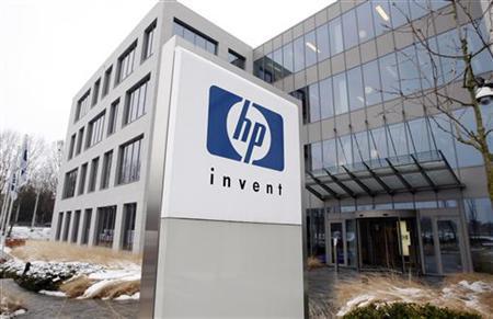 A logo of HP is seen outside Hewlett-Packard Belgian headquarters in Diegem, near Brussels, January 12, 2010. REUTERS/Thierry Roge/Files