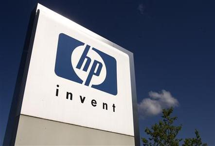 A HP Invent logo is pictured in front of Hewlett-Packard international offices in Meyrin near Geneva in this August 4, 2009, file photo. REUTERS/Denis Balibouse/Files