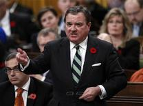 Canada's Finance Minister Jim Flaherty speaks during Question Period in the House of Commons on Parliament Hill in Ottawa October 31, 2012. REUTERS/Chris Wattie