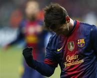 Lionel Messi, do Barcelona, comemora marcar um gol contra o Spartak Moscow durante partida no estádio de Luzhniki, em Moscou, na Rússia. 20/11/2012 REUTERS/Grigory Dukor