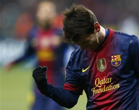 Barcelona's Lionel Messi celebrates scoring against Spartak Moscow during their Champions League Group G soccer match at Luzhniki stadium in Moscow November 20, 2012. REUTERS/Grigory Dukor