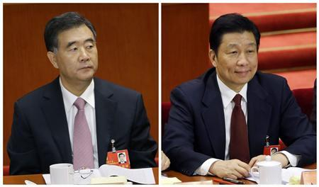 A combination of two file pictures shows Wang Yang (L), Party Secretary of Guangdong Province, and Li Yuanchao, head of the Organization Department of the Communist Party of China, both taken during the 18th National Congress of the Communist Party of China (CPC) at the Great Hall of the People, in Beijing on November 8, 2012. REUTERS/Jason Lee/Files