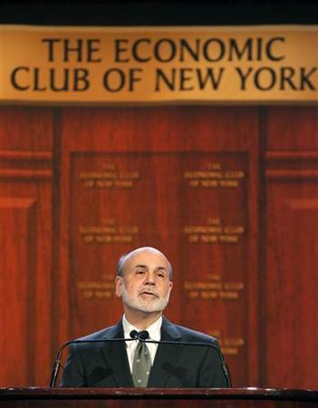 U.S. Federal Reserve Chairman Ben Bernanke speaks to the Economic Club of New York in New York, November 20, 2012. REUTERS/Brendan McDermid (UNITED STATES - Tags: BUSINESS POLITICS)