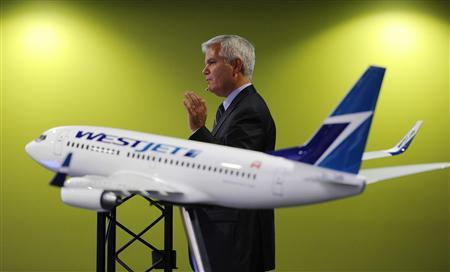 President and CEO of Westjet Gregg Saretsky addresses shareholders during the company's annual general meeting in Calgary, Alberta, in this May 1, 2012, file photo. REUTERS/Todd Korol/Files