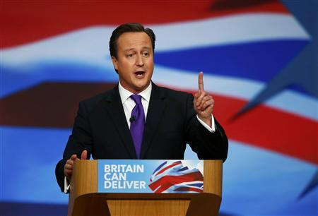Britain's Prime Minister David Cameron delivers his keynote speech at the Conservative Party conference in Birmingham, central England October 10, 2012. REUTERS/Darren Staples