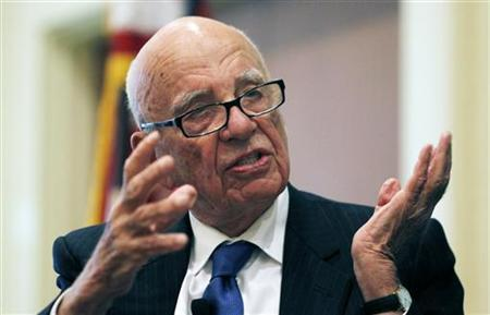 News Corp Chairman and CEO Rupert Murdoch gestures as he speaks at the ''The Economics and Politics of Immigration'' Forum in Boston, Massachusetts August 14, 2012. REUTERS/Jessica Rinaldi (UNITED STATES - Tags: MEDIA)