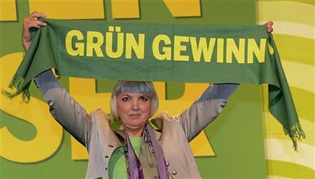 German Green Party co-leader Claudia Roth holds a scarf reading: ''Green will win'' after her re-election at the party convention of the Green Party in Hanover, November 17, 2012. REUTERS/Fabian Bimmer (GERMANY - Tags: POLITICS)