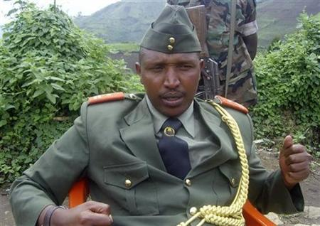 General Bosco Ntaganda addresses a news conference in Kabati, a village located in Congo's eastern North Kivu province, in this file photo taken January 8, 2009. REUTERS/Abdul Ndemere