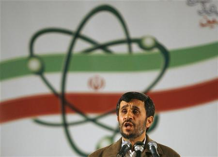 Iran's President Mahmoud Ahmadinejad speaks during a ceremony at the Natanz nuclear enrichment facility, 350 km (217 miles) south of Tehran, April 9, 2007. REUTERS/Caren Firouz