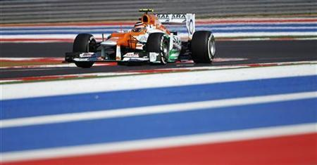 Force India Formula One driver Nico Hulkenberg of Germany drives during the qualifying session of the U.S. F1 Grand Prix at the Circuit of the Americas in Austin, Texas November 17, 2012. REUTERS/Robert Galbraith