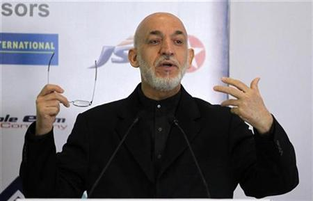 Afghanistan's President Hamid Karzai speaks during a business conference in Mumbai November 10, 2012. Karzai is on a five-day state visit to India. REUTERS/Vivek Prakash