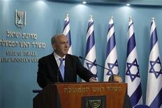 O primeiro-ministro de Israel, Benjamin Netanyahu, discursa em Jerusalém nesta quarta-feira. 21/11/2012 REUTERS/Baz Ratner
