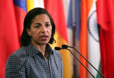 U.S. ambassador to the United Nations Susan Rice speaks with the media after Security Council consultations at U.N. headquarters in New York June 7, 2012. REUTERS/Allison Joyce/Files