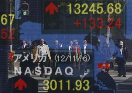 People are reflected on a board showing the Dow Jones average (top) and NASDAQ average of the U.S. outside a brokerage in Tokyo November 7, 2012. REUTERS/Toru Hanai