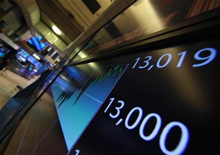 A screen displays the Dow Jones Industrial average after the closing bell at the New York Stock Exchange February 28, 2012. REUTERS/Brendan McDermid