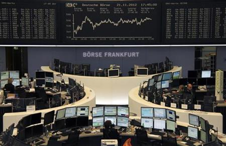 Traders are pictured at their desks in front of the DAX board at the Frankfurt stock exchange November 21, 2012. REUTERS/Remote/Wolfgang Rattay