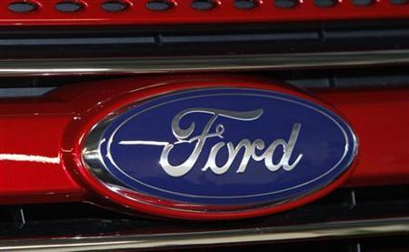 A Ford logo is seen on a 2011 Ford Explorer at the Ford assembly plant in Chicago, Illinois, December 1, 2010. REUTERS/Frank Polich/Files