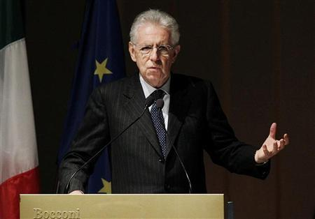 Italian Prime Minister Mario Monti gestures as he speaks during the opening ceremony of the academic year at the Bocconi University in Milan November 15, 2012. REUTERS/Alessandro Garofalo