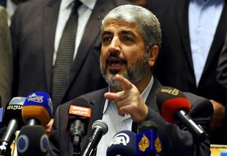 Hamas' leader in exile Khaled Meshaal speaks during a news conference about a cease-fire agreement between Israel and Gaza, in Cairo November 21, 2012. REUTERS/Mohamed Abd El Ghany