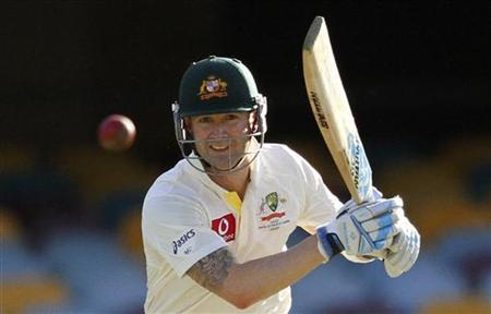 Australia's Michael Clarke plays a shot against South Africa during the first test cricket match at the Gabba in Brisbane November 12, 2012. REUTERS/Aman Sharma