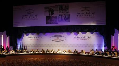 A general view of the General Assembly of the Syrian National Council in Doha November 11, 2012. REUTERS/Mohammed Dabbous