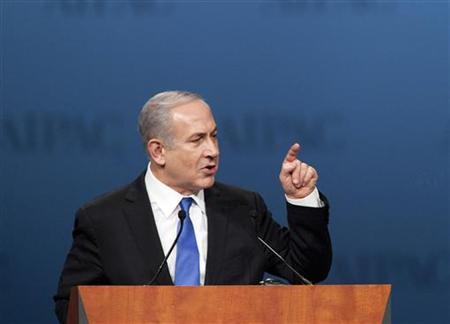 Israeli Prime Minister Benjamin Netanyahu speaks at the American Israel Public Affairs Committee (AIPAC) policy conference in Washington March 5, 2012. REUTERS/Joshua Roberts