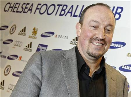 Chelsea's new interim manager Rafael Benitez leaves a news conference at Stamford Bridge Stadium in London November 22, 2012. REUTERS/Luke MacGregor