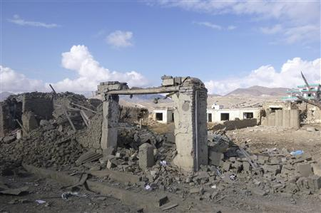 Debris from a bomb blast lies in Wardak province November 23, 2012. REUTERS/Stringer
