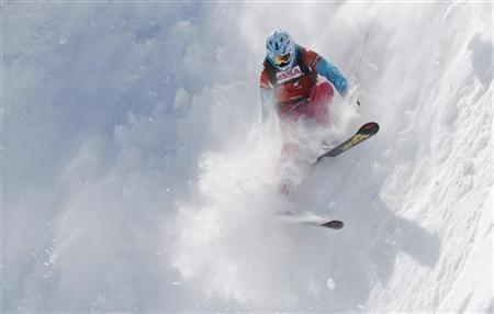 Sverre Liliequist of Sweden performs during the Xtreme men's ski freeride contest on the Bec des Rosses mountain in Verbier March 23, 2010. REUTERS/Michael Buholzer/Files