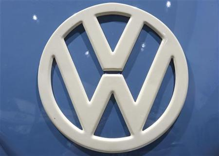 Logo of German carmaker Volkswagen, is pictured at the IAA truck show in Hanover, September 18, 2012. Picture taken September 18. REUTERS/Fabian Bimmer (GERMANY - Tags: TRANSPORT BUSINESS LOGO)