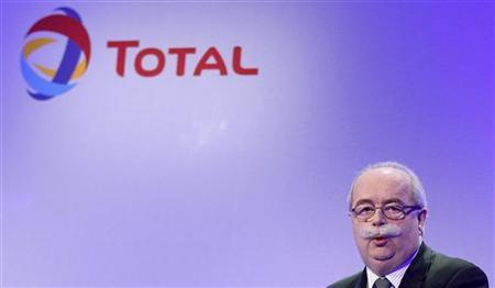French oil company Total CEO Christophe de Margerie delivers a speech during the company's 2011 annual result presentation in Paris February 10, 2012. REUTERS/Jacky Naegelen