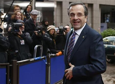 Greece's Prime Minister Antonis Samaras arrives at the European Union (EU) council headquarters for an EU leaders summit discussing the EU's long-term budget in Brussels November 23, 2012. Prospects of a deal on the EU's long-term budget dimmed on Friday after a fresh compromise proposal offered concessions to France and Poland but ignored British and German demands for deeper overall spending cuts. REUTERS/Francois Lenoir (BELGIUM - Tags: BUSINESS POLITICS)