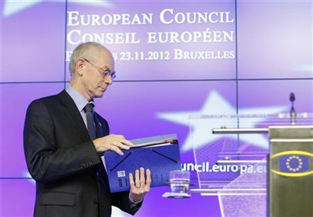 European Council President Herman Van Rompuy arrives for a news conference at the end of an EU leaders summit discussing the EU's long-term budget at the European Union (EU) council headquarters in Brussels November 23, 2012. REUTERS/Sebastien Pirlet