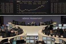 The DAX board is pictured at the Frankfurt stock exchange November 23, 2012. REUTERS/Remote/Wolfgang Rattay (GERMANY - Tags: BUSINESS)