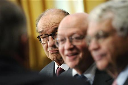 Former U.S. Federal Reserve Chairman Alan Greenspan (L), Martin Feldstein, professor of economics at Harvard University, and John Taylor (R), professor of economics and senior fellow in economics in Stanford University's Hoover Institution, arrive to testify at a Senate Finance Committee hearing on tax reform and deficit reduction, on Capitol Hill in Washington September 13, 2011. REUTERS/Jonathan Ernst