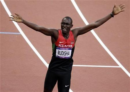 Kenya's David Lekuta Rudisha reacts after winning the men's 800m final during the London 2012 Olympic Games at the Olympic Stadium August 9, 2012. REUTERS/Max Rossi/Files