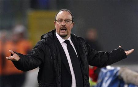 Rafa Benitez gestures during a soccer match at the Olympic stadium in Rome December 3, 2010. REUTERS/Max Rossi/Files