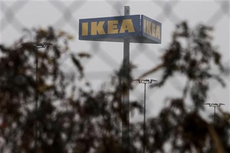 The sign of an IKEA furniture store is seen in Berlin, November 16, 2012. REUTERS/Thomas Peter