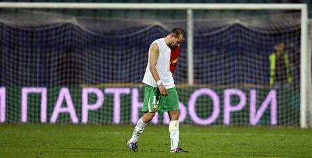 Martin Petrov of Bulgaria leaves the pitch after his team lost to Montenegro in their Euro 2012 qualifying soccer match in Sofia September 7, 2010. REUTERS/Stoyan Nenov