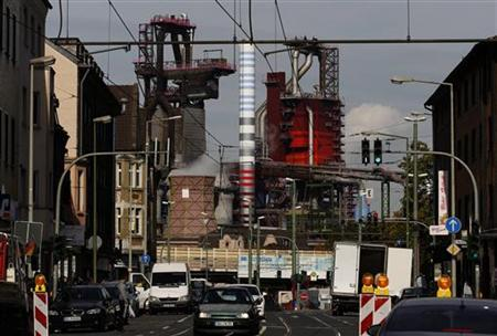 A blast furnace is pictured at the steelworks of German steel maker ThyssenKrupp AG in Bruckhausen, a suburb of the western German city of Duisburg October 1, 2012. Picture taken October 1. REUTERS/Ina Fassbender