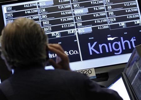 A trader stands by the post that trades Knight Capital on the floor of the New York Stock Exchange August 3, 2012. REUTERS/Brendan McDermid