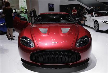 A new V12 Zagato model car is displayed on the Aston Martin booth during the first media day of the Geneva Auto Show at the Palexpo in Geneva, March 6, 2012. REUTERS/Denis Balibouse/Files