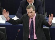 Britain's United Kingdom Independence Party (UKIP) leader and member of the European Parliament Nigel Farage addresses the European Parliament during a debate on the last EU summit in Strasbourg, December 13, 2011. REUTERS/Vincent Kessler