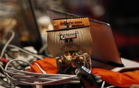 A toy ship is pictured during a party meeting of the Pirate Party (Piraten Partei) in Bochum November 24, 2012. REUTERS/Ina Fassbender