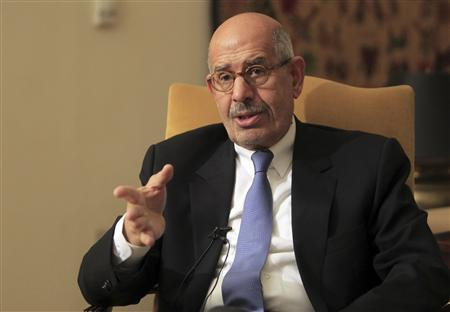 National reformist campaigner, and previous leader of the International Atomic Energy Agency, Mohamed El-Baradei speaks during an interview in his Cairo home November 24, 2012. Prominent opposition leader ElBaradei said on Saturday there could be no dialogue with Egypt's president until he scrapped a ''dictatorial'' decree that he said gave the Islamist leader Mohamed Mursi the powers of a pharaoh. REUTERS/Mohamed Abd El Ghany