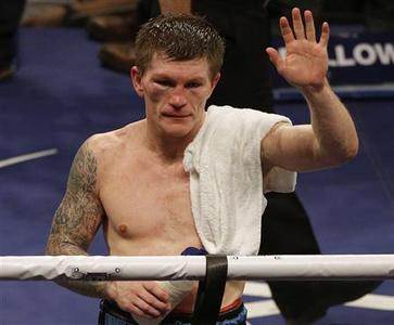 Britain's Ricky Hatton reacts after losing to the Ukraine's Vyacheslav Senchenko in their boxing match at the Manchester Arena in Manchester, northern England November 24, 2012. REUTERS/Phil Noble